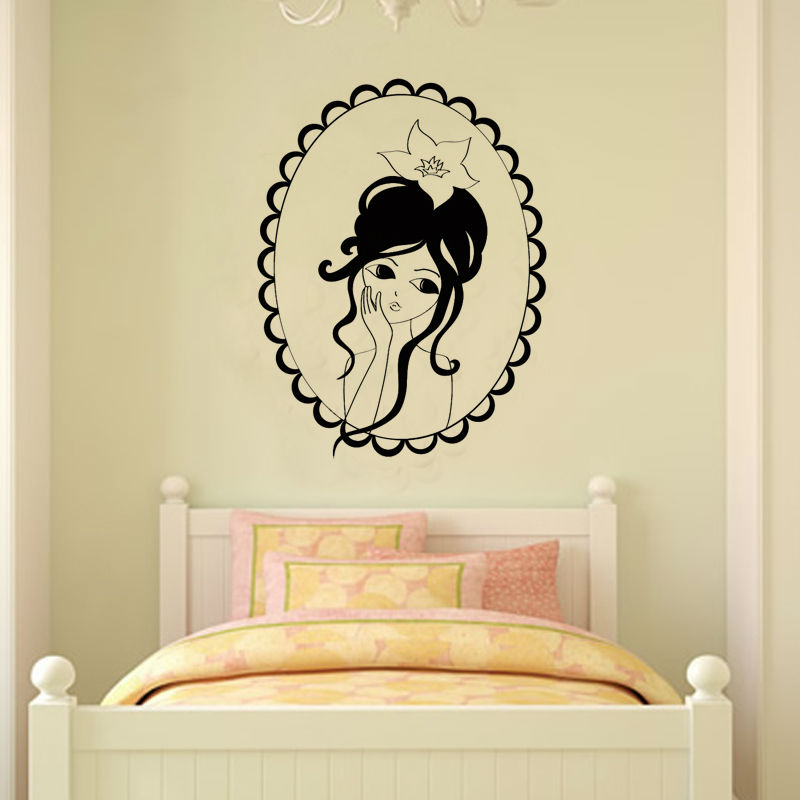 Princess Portrait Wall Sticker For Girls Bedroom Self Adhesive Wall ...
