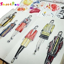 A5 Fashion Designer Notebook Marker Sketchbook Prickad linje Body Workbooks Designer Notebook 82 Sheets Paper Dress