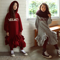 New Fall Winter Girl Dresses Long Sleeve Hooded Dress for Teens Casual Letter Print Kids Clothes Ruffles Princess Dress CA493