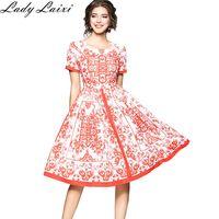 2018 Spring Summer Ethnic Patterns Printed Woman New Dress Short Sleeve Female A Line Dress Slim