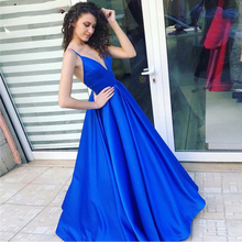 Cheap Prom Dresses A-line Spaghetti Straps Satin V-Neckline Royal Blue Long Formal Evening Party Gown Simple Dress