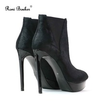 Real Leather Woman Boots 13cm Sexy Stiletto High Heels Horsehair Shoes Women Platform Spring Autumn Kid Suede Ankle Boot Female цена
