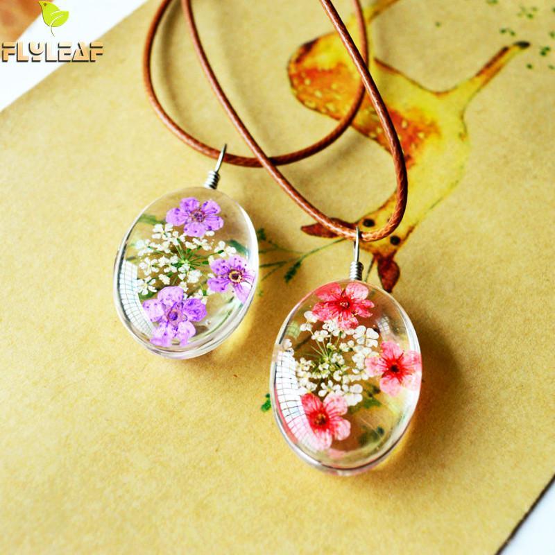 Flyleaf 2017 Handmade Epoxy Natural Dried Eternal Flower Specimens Necklaces & Pendants For Women Casual Girl Jewelry Karachi