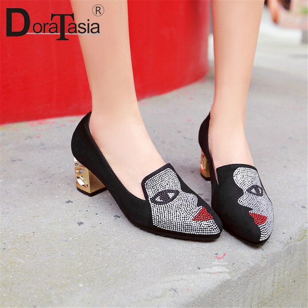 DORATASIA Crystal Pumps Shoes Woman Shallow High-Heels Autumn Plus-Size Fashion Women