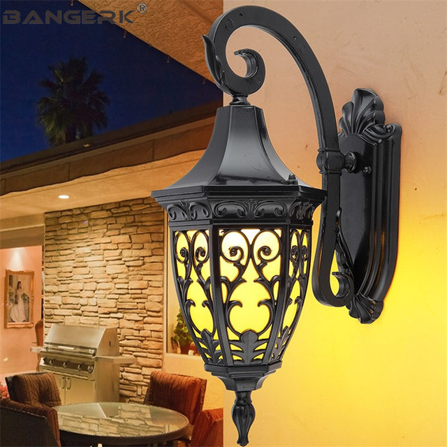Outdoor Waterproof LED Porch Lights Wall Sconce American Retro Wall Lamp E27 Aluminum Garden Balcony Aisle Light Decor Lighting