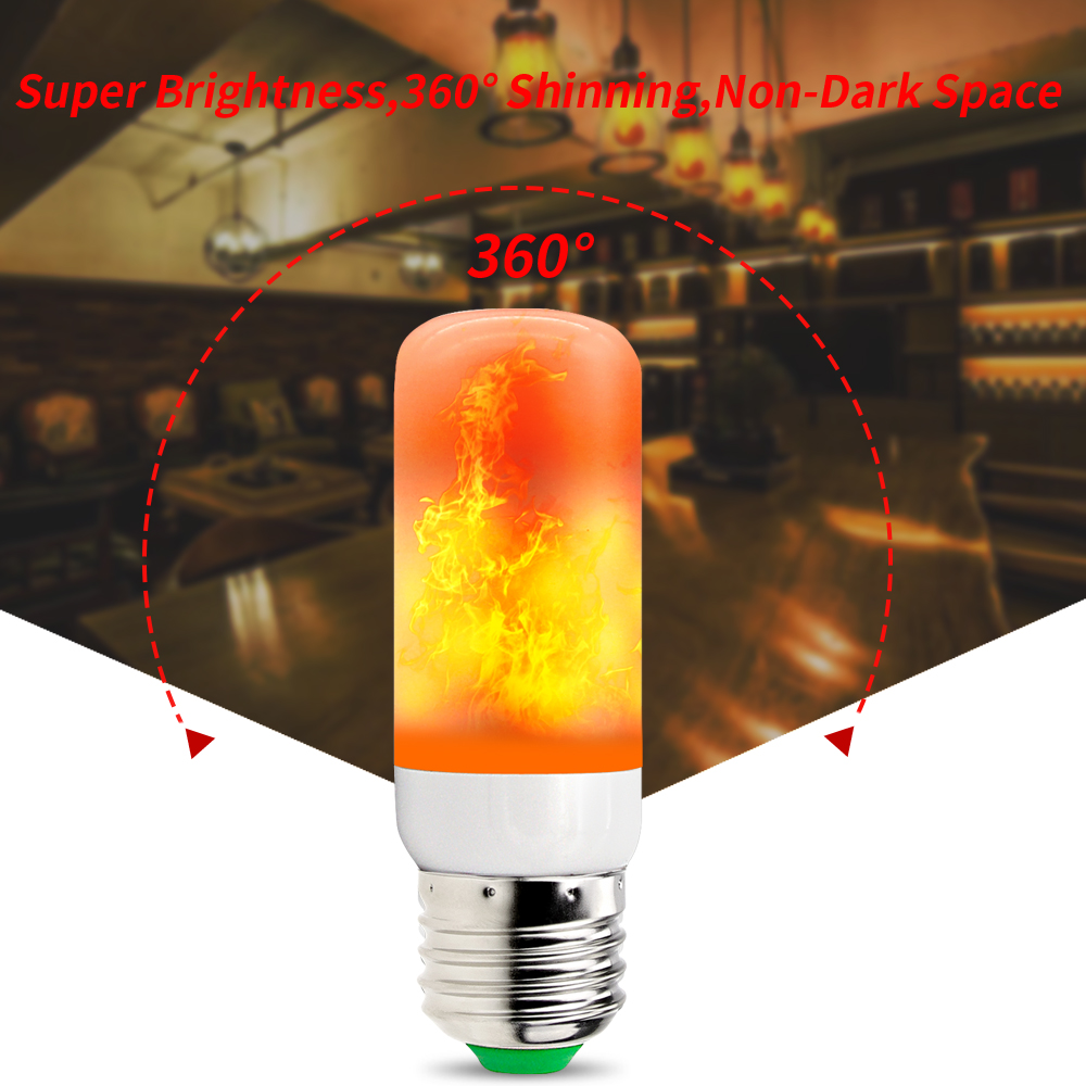E27 Led Flame Effect Fire Light Bulb 3W Flickering Flame Lamp AC85 265V 42led Candle Bulbs For Garden Holiday Decoration 2835SMD in LED Bulbs Tubes from Lights Lighting