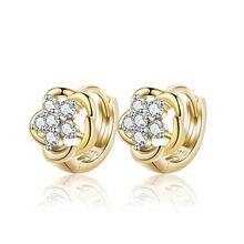 Детские серьги-кольца золотого цвета с кристаллами и цирконием, SW Element, модные серьги для маленьких девочек,, 13E18K-86