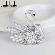 New High Quality Rhinestone Brooches Matte Gold/Silver Swan Vintage Unique Style Fashion Jewelry For Women