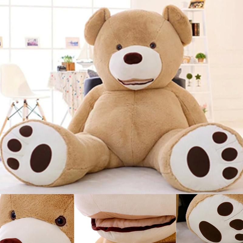 200cm-New-Teddy-bear-skin-Giant-Luxury-Plush-Extra-Large-Teddy-Bear-cost-Dark-Brown-Light