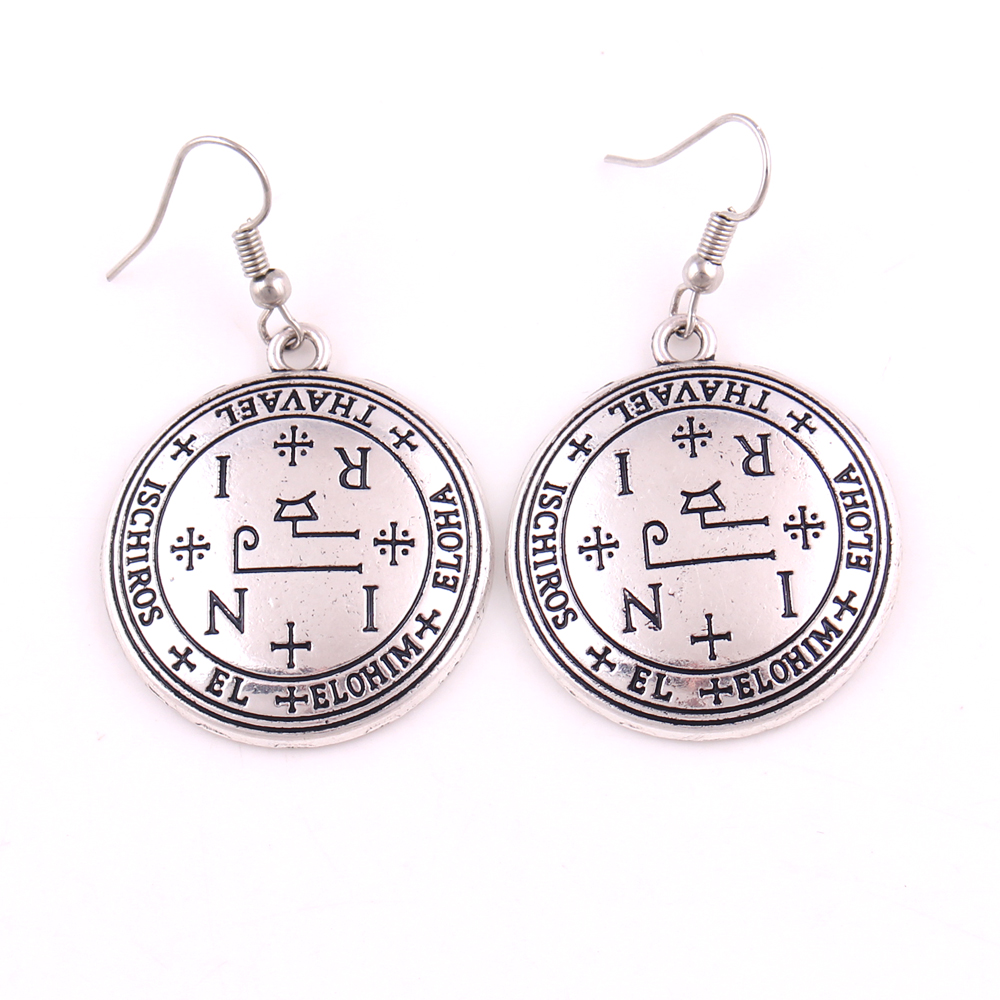 Unisex Jewelry Earrings Religious Archangel Thavael Angelic Amulet Solomon Viking Style Earrings Zinc Alloy Dropshipping Convenience Goods Earrings Jewelry & Accessories
