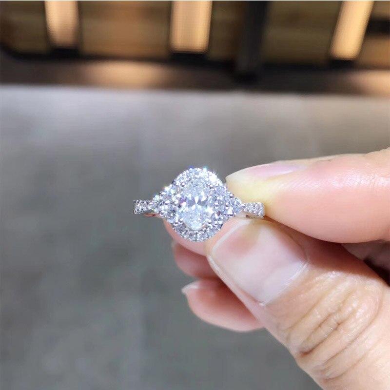 ANI 18 K or blanc (AU750) bague de mariage 0.948 CT GIA certifié F/VS1 taille ovale véritable diamant naturel femmes Halo bague de fiançailles
