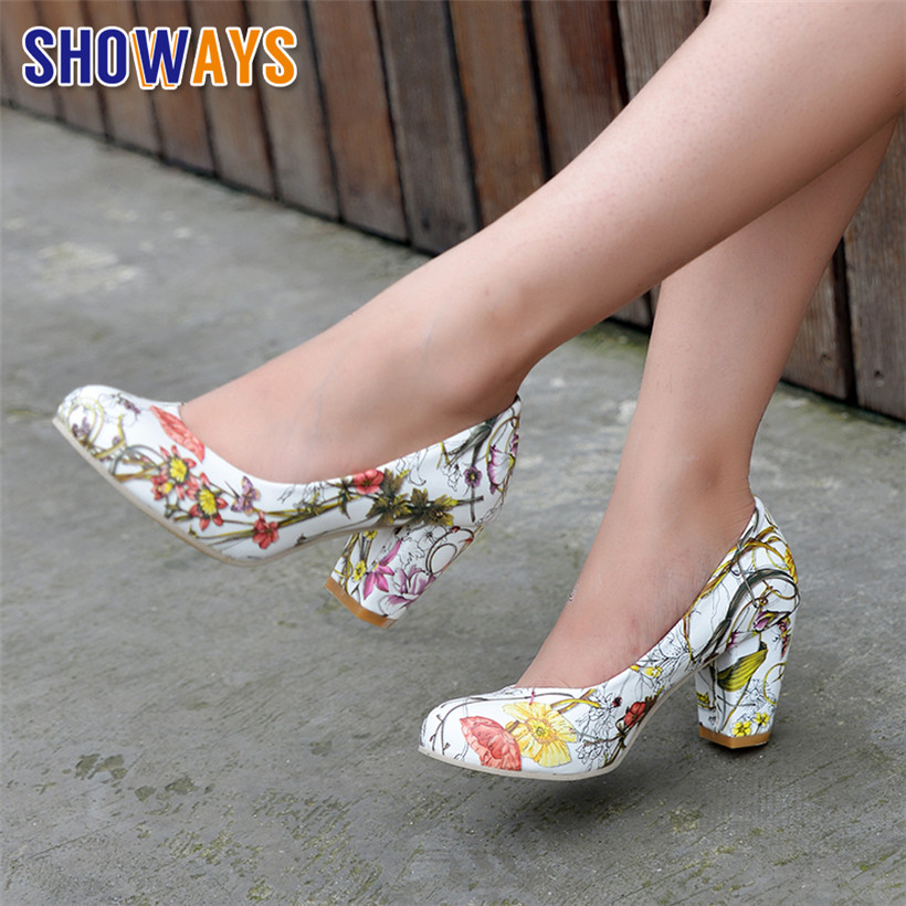Spring Women Pumps 7cm Chunky Block High Heels White Flower Print PU Leather Round Toe Casual Office Slip-on Dress Ladies Shoes