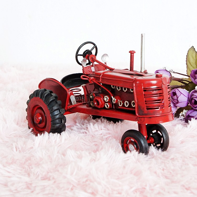 Alloy Metal Farm Tractor Models Handmade Simulation Cars Tractor Head Model Fashion Showcase Ornaments Decoration