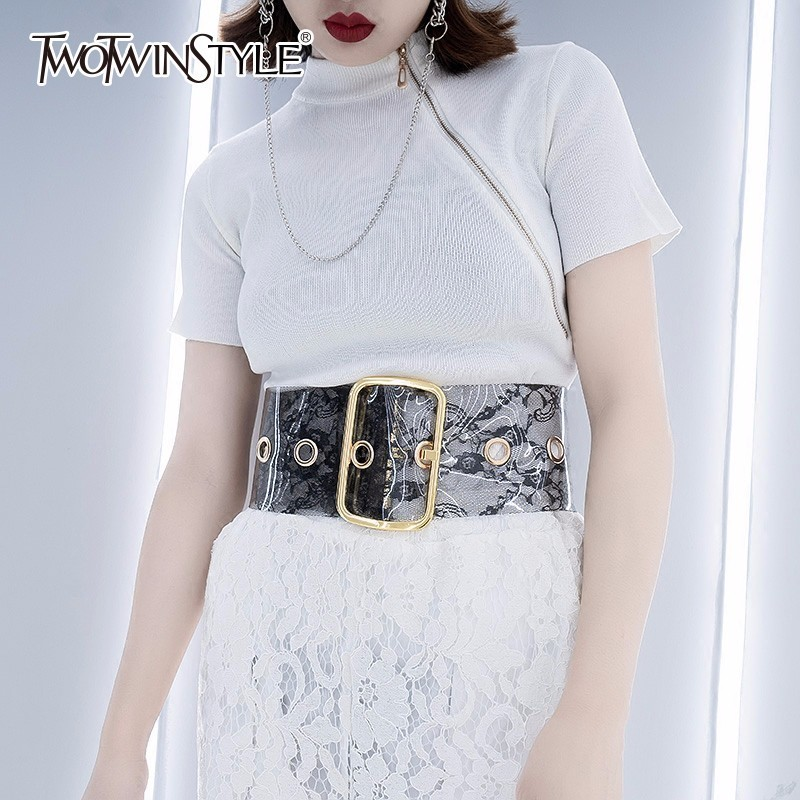 TWOTWINSTYLE 2019 New Fashion PVC Women Cummerbund Lace Pattern Wide Belt Female Tide Waistbelt Clothes Accessories