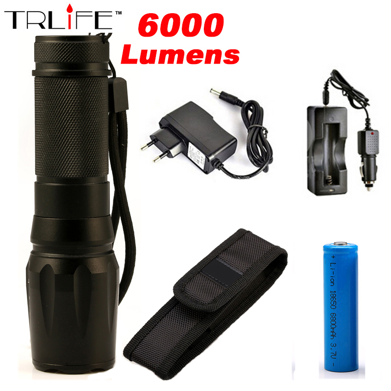 6000Lumens Flashlight CREE XM-L2 Flash Light High Power Torch Zoomable LED Flashlight Torch light For 3xAAA or 1x18650 cree xm l t6 bicycle light 6000lumens bike light 7modes torch zoomable led flashlight 18650 battery charger bicycle clip