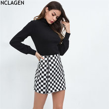 f824c175e6 NCLAGEN 2018 nuevas mujeres Sexy Mini tablero falda alta cintura moda  Casual tendencia cremallera Slim Fit A-Line Saias