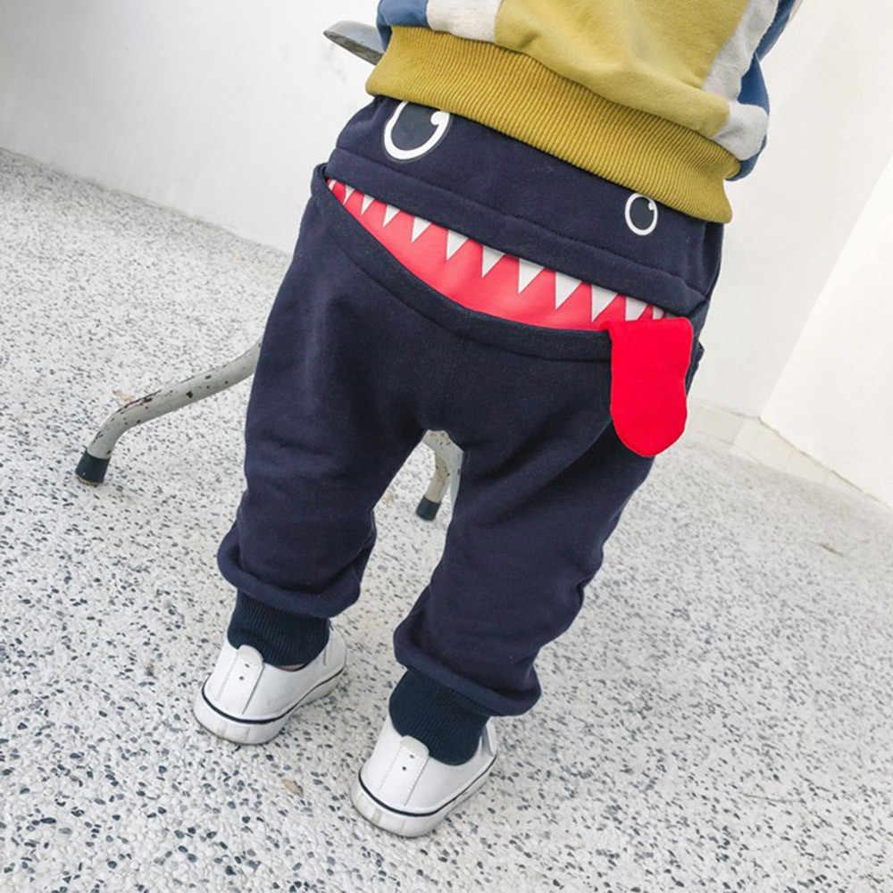 5daac6bf78fb ... CHAMSGEND Baby Children Kids Boys Girls Cotton Blend Cartoon Shark  Tongue Harem Pants Trousers Fashion Pants ...
