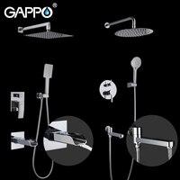 GAPPO Shower Faucets bathroom faucet tap wall mounted bath shower mixer faucet set waterfall shower chrome rain shower head set
