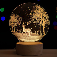 3D Led Night Light Christmas Children's Gift Lamp Fixtures Astronaut Deer Bedside lamp Home Decoration Lamp Free Shipping