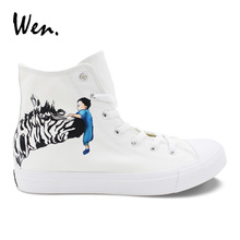 Wen White Women's Canvas Sneakers High Top Footwear Design Hand Painted Zebra Men's Casual Vulcanized Shoes Colored Drawing