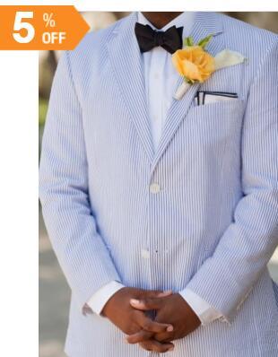 16af242ce0 Strisce blu Seersucker Tuxedo Design Mens Prom Abiti Slim Giacca Da ...