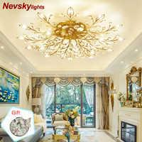 Luz de techo moderna para comedor lámpara de techo de cristal LED lámparas de cristal para sala de estar loft iluminación de cristal avize dormitorio