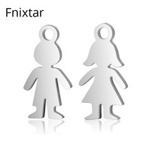Fnixtar High Quality Stainless Steel Boy Girls Small Charms Metal Charms Pendant Polished Jewelry Bracelet Accessories 20pcs/lot(China)