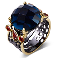 New arrival Elegant black ring for ladies Blue Siam cubic zircon Top quality Wedding rings Free shipping