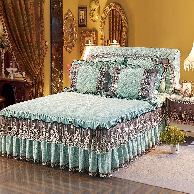 Bleu Rose Vert Bedskirt Épais polaire Dentelle Princesse lit couverture Couvre-lit literie Complète Reine Roi taille couvre lit éclairé
