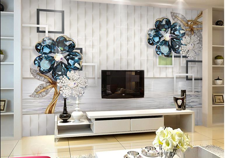Custom wall paper mural 3d Modern Fashion Simple And Soft Jewelry flowers Room Sofa Backdrop Mural Wall Paper For The Walls 3D