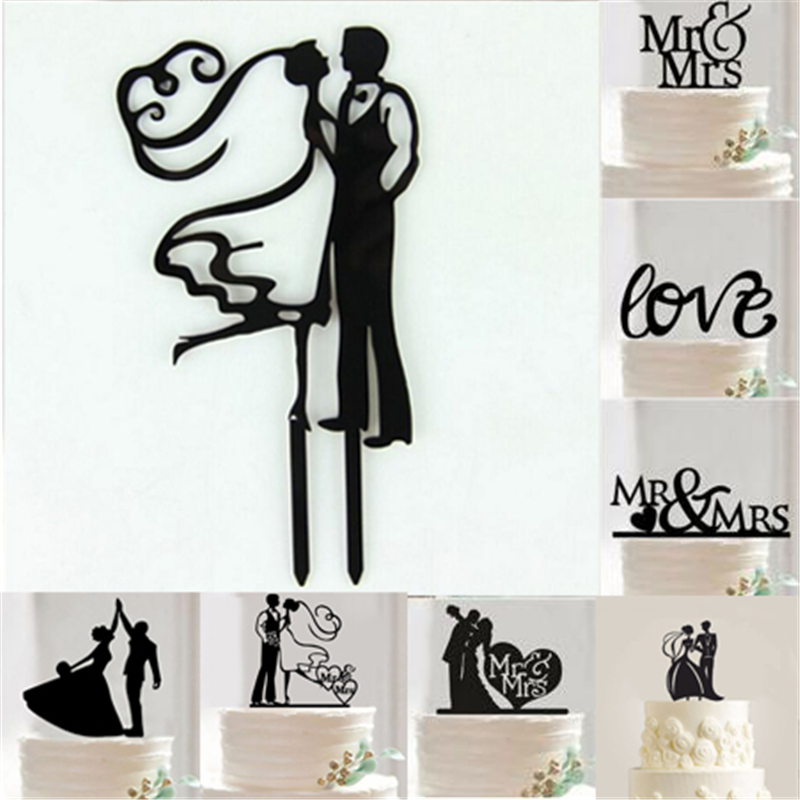 1pcs acrylic bride and groom wedding cake topper wedding for Stand decoration