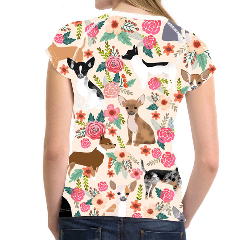 NOISYDESIGNS чихуахуа с цветочным принтом Для женщин футболка Дамы Забавный Футболка свежий Стиль для девочек-подростков Kawaii щенок футболка Топы