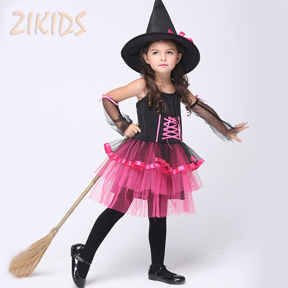 Halloween Witch Cosplay Costume for Girls Clothing Set Kids Masquerade Carnival Party Tiered Halter Dresses(Hat+Dress+Cuffs)