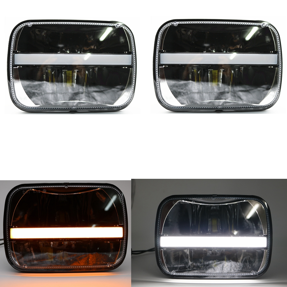 5X7 inch 40W h4 LED Replacement for Sealed Beam with White DRL Amber Turn signal 7x6 inch headlamp for truck FLD 50 60 70 80