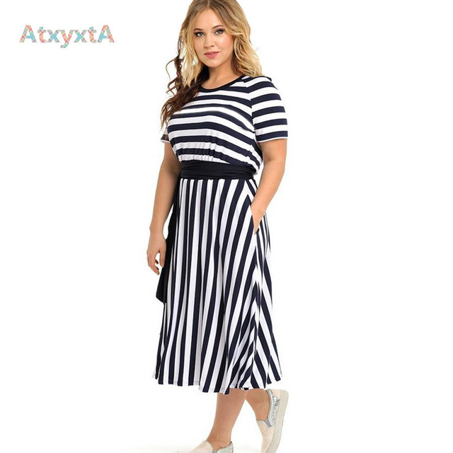 5XL 6XL Big Plus Size Flare Sundress Women Striped Knitted Midi Summer Dresses Short Sleeve Clothing Casual