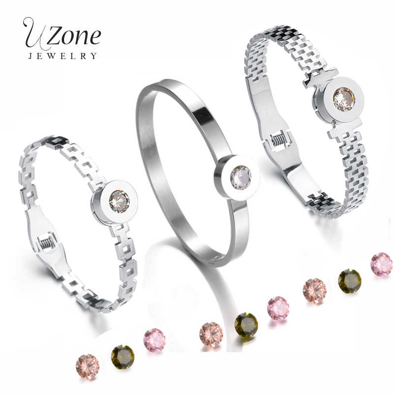 UZone Interchangeable CZ Stones Bangle Stainless Steel Replaceable Jewelry Charm Hollow Cuff Bangle Bracelets For Women