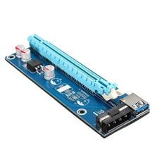 FÖRDERUNG! 10X USB 3.0 PCI E 1x zu 16x Powered Extender Riser Adapter Karte Mit SATA Kabel