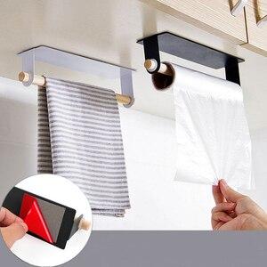Bathroom Wood Towel Hanger Rack Bar Kitchen Cabinet Cling Film Rag Hanging Holder Organizer Toilet Roll Paper Holder Shelf(China)