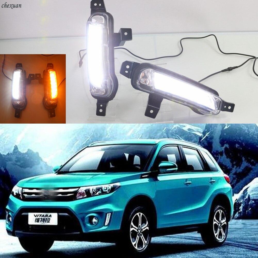Cscsnl 2 pçs carro led luz de circulação diurna drl nevoeiro lâmpada com sinal volta amarelo para suzuki vitara 2015 2016 2017 2018 2019 2020