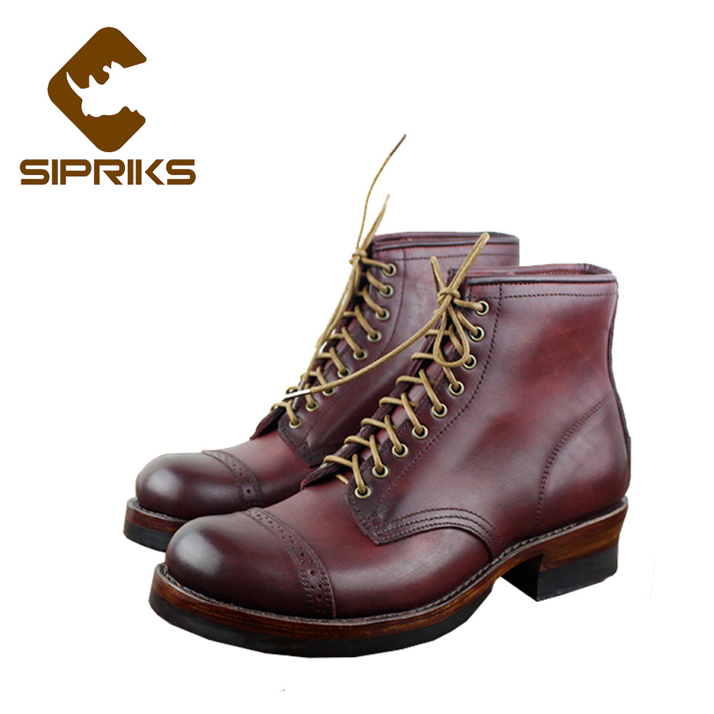 Sipriks Luxury Brand Mens Sewing Welted Boots Burgundy Ankle Boots With Round Toe Lace Up Dress Boots European Shoes Boots 10