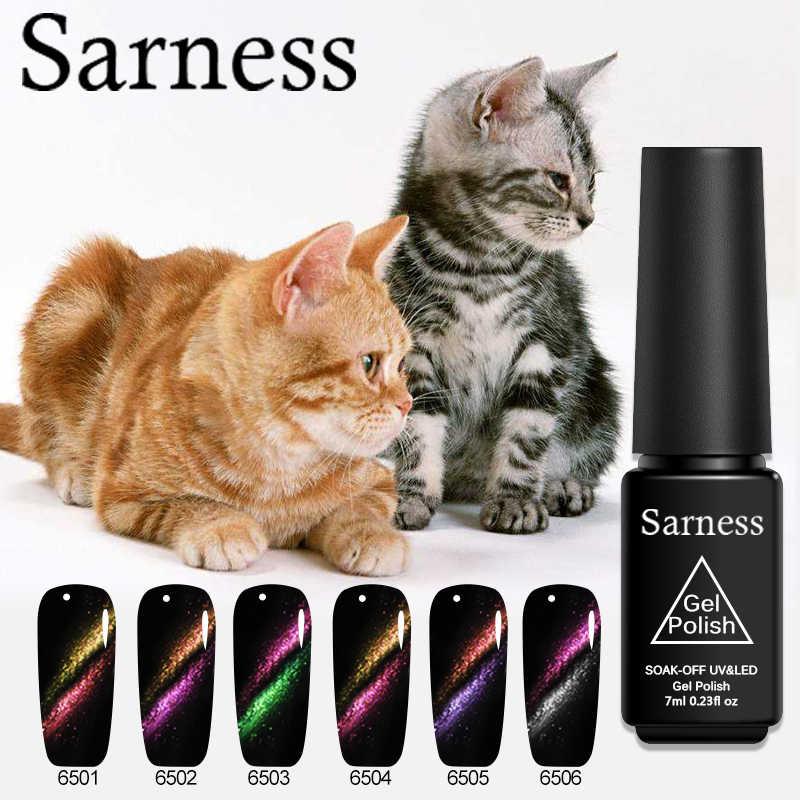 Sarness 5D Chameleon Cat Eye Nail Gel Polish 7 Ml SOAK Off Magnetic Uv Gel Varnish Manikur Kuku Seni Hitam dasar Karet Diperlukan Gel