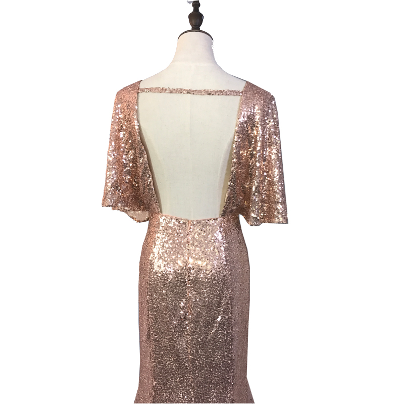 Rose Gold Mermaid Sequined Bridesmaid Dresses deep v-Neck Backless summer Wedding Guest Dresses Lady Formal gowns ZD003 4