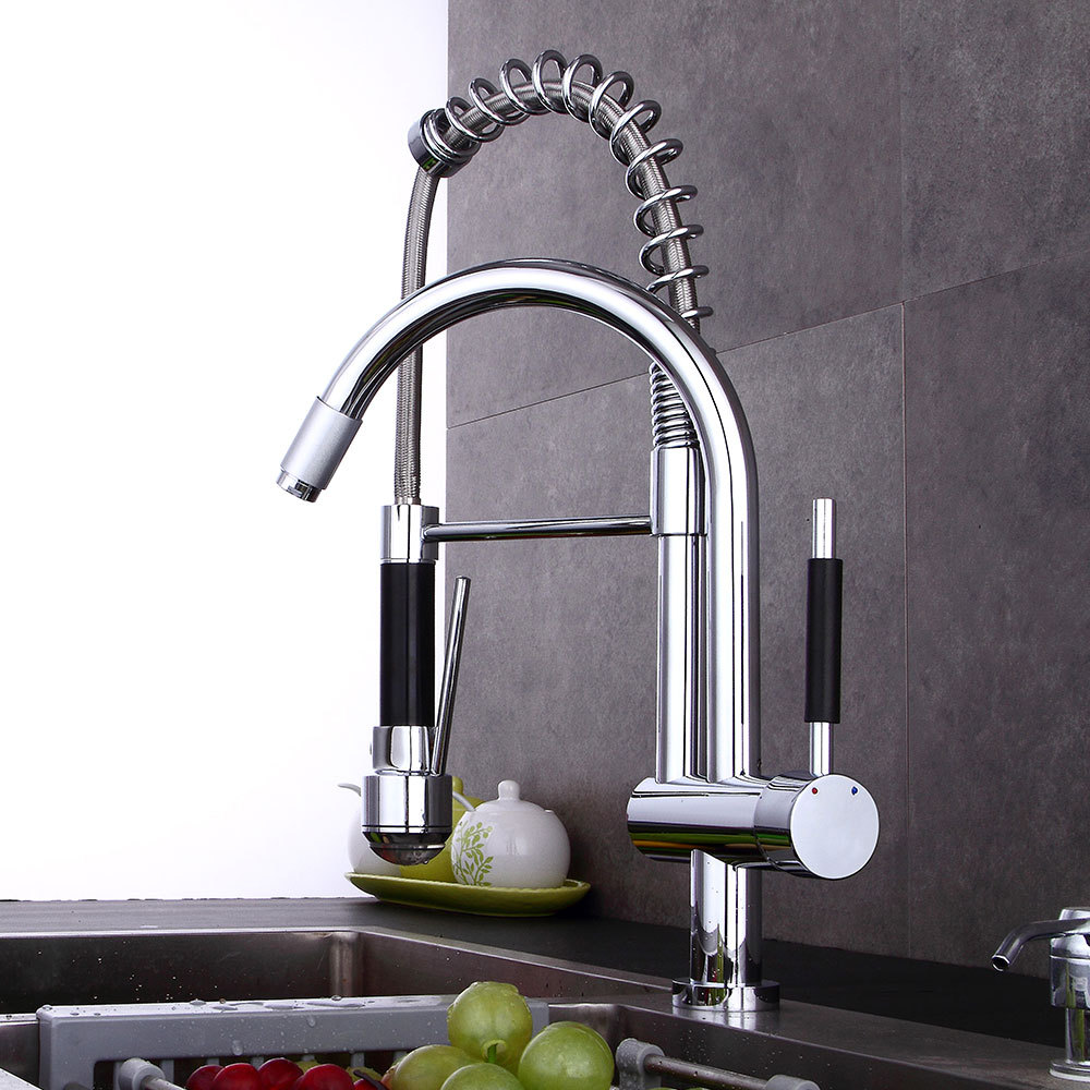 Chrome Spring Pull Down Kitchen Faucet Deck Mount Mixer Tap Kitchen Hot and Cold Water Tap 2 Outlet Spring Taps kitchen faucets spring pull down silver taps led light pre rinse spray crane deck mounted hot and cold mixer tap tap yc cl3013