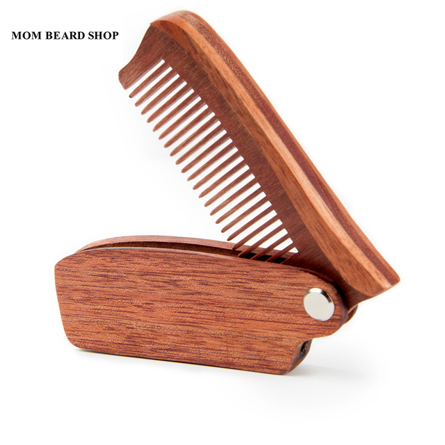 Men Folding Beard Comb Wooden Massage Hair Brush Comb Folding For Beard Hair Styling Tool Long Handle Fine Tooth Wood Comb 1PCS 1