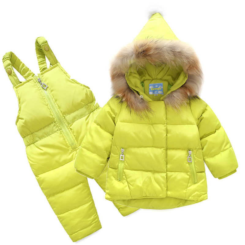 2018 Natural fur Winter Baby Girls Boys Down Suits Hooded Coats+Bib Pants Kids Outdoor Suits Windproof Warm Thick Children Suits baby winter warm ski suits thick down