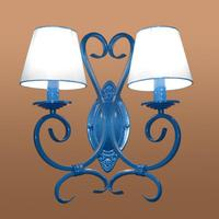 2 Arm Balcony Blue Metal Wall Lamp Candle Light Dressing Room Wall Sconce Mediterranean Sea Iron