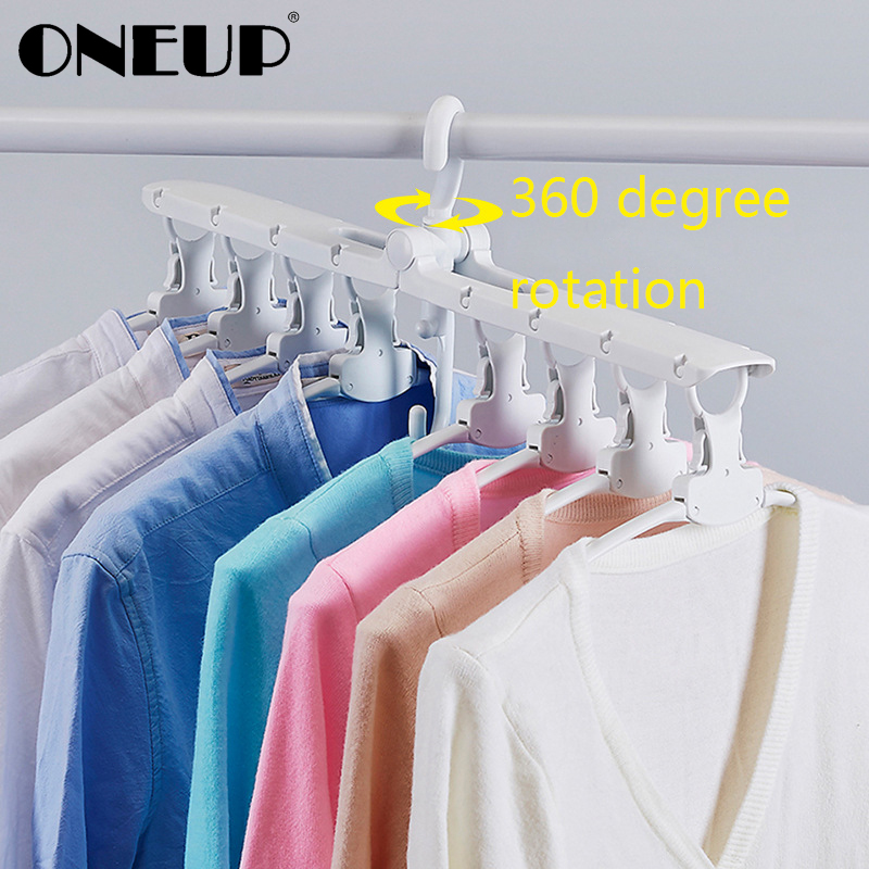 ONEUP Plastic Multi-port Support Circle Clothes Hanger Saves Space Foldable Telescopic Magic Clothes Hanger NoSlip Laundry Rack