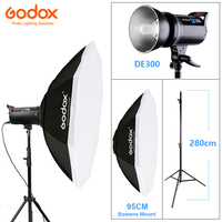 Godox DE300 300W/300WS Photo Studio Flashlight Strobe Lighting Kit + Octagon Softbox 95cm with Bowens Mount + 2.8M Light Stand