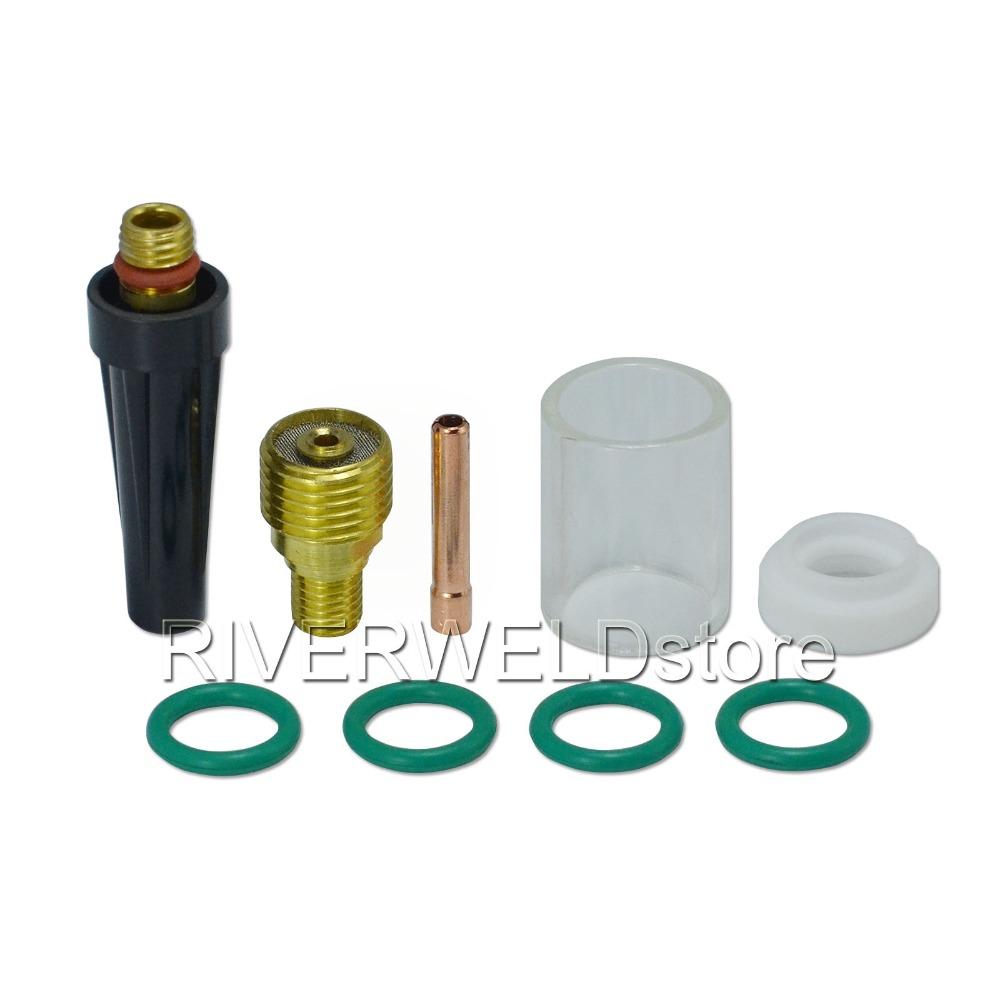 TIG Gas Lens Collet Body 45V44 3/32 2.4mm Collet 13N23 & #10 Pyrex Cup Kit Fit DB SR WP 9 20 25 TIG Welding Torch 9pcs