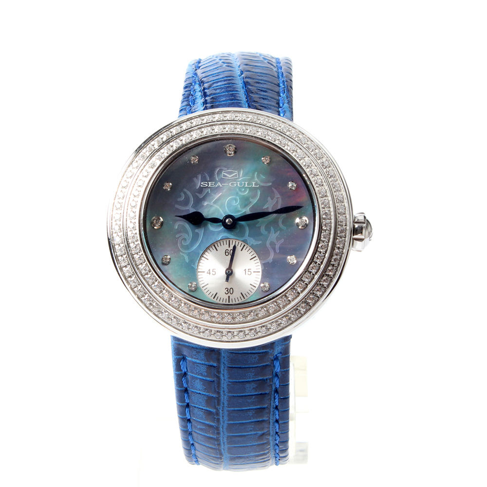 Seagull Rhinestones Bezel Mother of Pearl Dial PVD With Stainless Steel Women Mechanical Watch 719.750L цена 2016